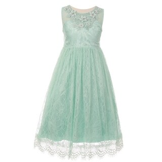 Little Girls Mint Floral Decorated Lace Flower Girl Dress
