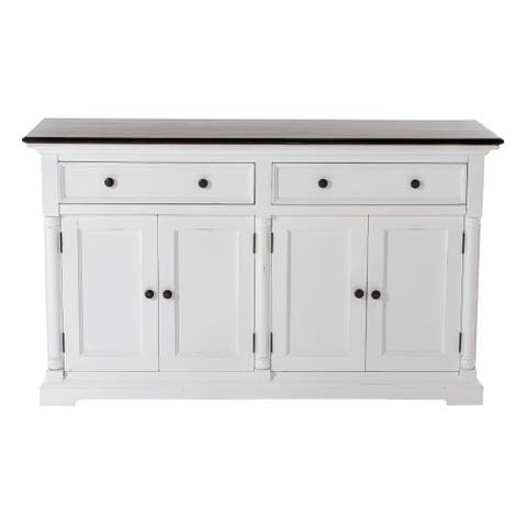 """Modern Farm Brown and White Two Door Buffet Server - 33.46"""" H x 57.09"""" W x 19.69"""" D"""