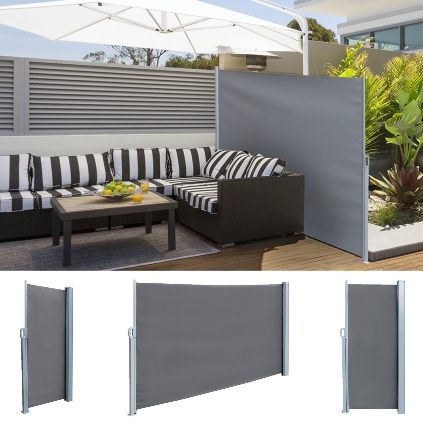sale retailer e270c 18c3a Real 5.9' x 9.8' Retractable Side Awning Outdoor Patio Privacy Sunshade  Divider Screen