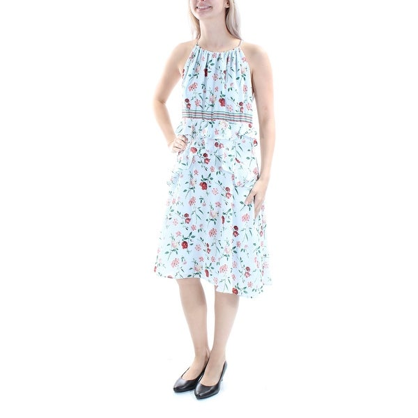 5c54d131356373 Shop MAX STUDIO Womens Light Blue Floral Sleeveless Halter Below The Knee  Shift Dress Size  S - On Sale - Free Shipping On Orders Over  45 -  Overstock - ...