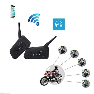 2x Skiing Motorcycle Helmet Bluetooth Headset Intercom Interphone 6 Riders 1200m - Black