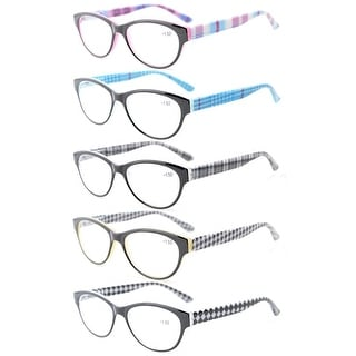 Eyekepper 5-Pack Readers Spring Hinges Retro Cat-eye Reading Glasses Women +2.25