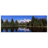 Poster Print entitled Reflection of mountains and trees in a lake, Schwabachers Landing, Grand Teton National Park,