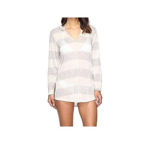 Splendid Womens Swimwear Gray Size Medium M Striped Hooded Cover-Up
