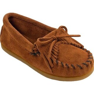 Minnetonka Children's Kilty Suede Moc Brown Suede
