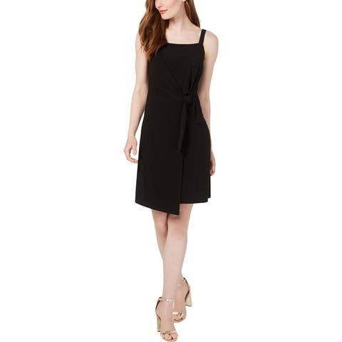 MSK Womens Petites Party Dress Faux Wrap Sleeveless - Black