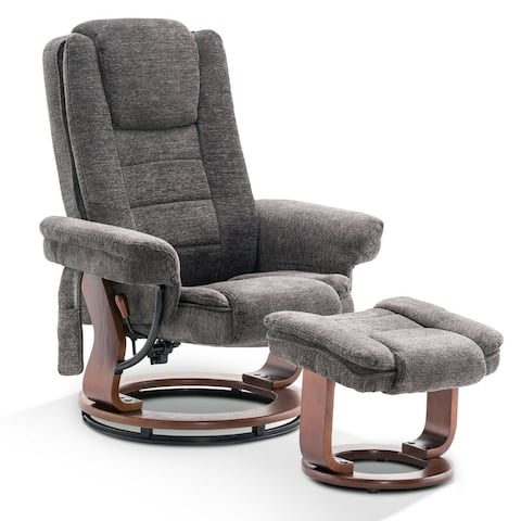 Mcombo Recliner Chair with Ottoman, Fabric Chair with Massage, Swivel Chair with Wood Base, for Living Reading Room, 9099