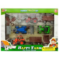 Daily Basic Kids Farm Tractor Truck and Trailer Set With Wheelbarrow, Shovel and Digging Fork - Assorted Colors