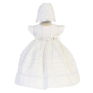 Angels Garment Baby Girls White Removable Florals Bonnet Baptism Gown