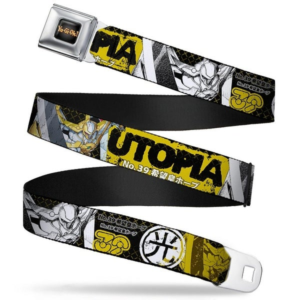 Yu Gi Oh! Logo Full Color Black Fade Gold Utopia No. 39 Poses Light Kanji Seatbelt Belt