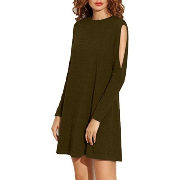 7266a43ae7d6 Shop Women s Fall Shoulder Off Long Sleeve T-Shirt Dress Basic Shift ...