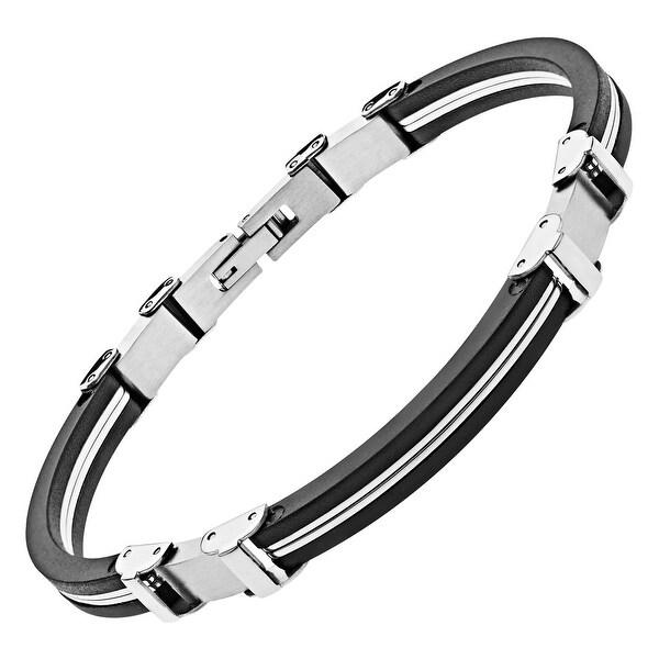 Men's Stainless Steel & Rubber Bracelet - White