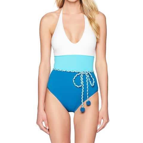 Vince Camuto Blue White Women Size 10 Colorblock One-Piece Swimwear