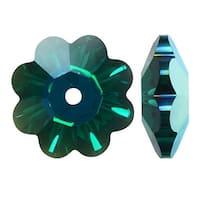 Swarovski Crystal, 3700 Flower Margarita Beads 14mm, 4 Pieces, Emerald AB