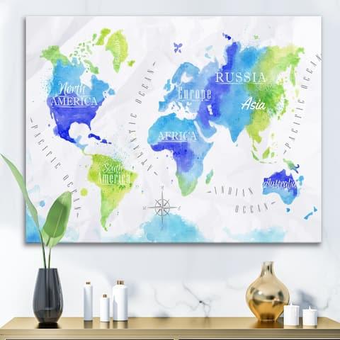 Designart 'World Map In Green and Blue' Modern Canvas Wall Art Print