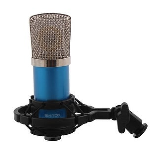 BM-700 3.5mm Wire Sound Recording Microphone Blue for KTV Singing