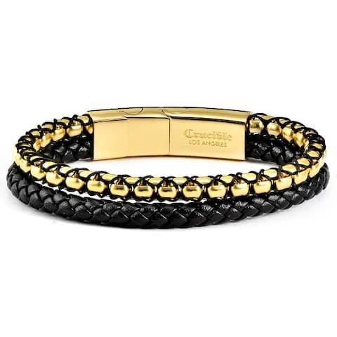 """Stainless Steel Box Chain and Leather Bracelet (12mm) - 8"""" + 0.5"""" Ext."""