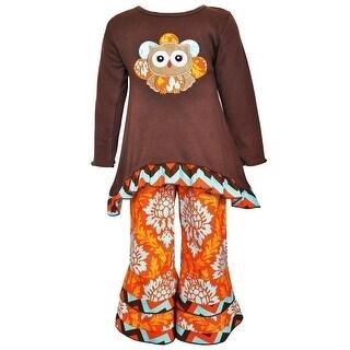 Baby Girls Brown Orange Thanksgiving Owl Leggings Outfit 12-24M