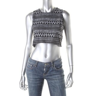 Say What? Womens Juniors Sleeveless Printed Crop Top - L