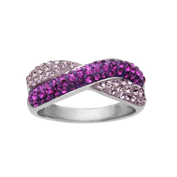 Crystaluxe Criss-Cross Band Ring with Violet and Lilac Swarovski Crystals in Sterling Silver