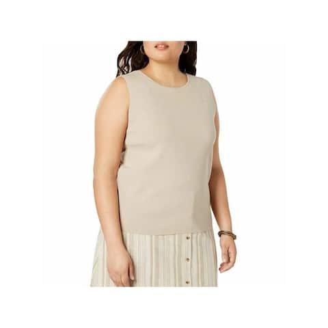 BAR III Womens Beige Sleeveless Jewel Neck Tank Top Size 2X