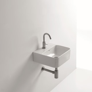 "WS Bath Collections Normal 02C  13-4/5"" Ceramic Wall Mounted / Vessel Bathroom Sink with 1 Hole Drilled and Overflow from the"