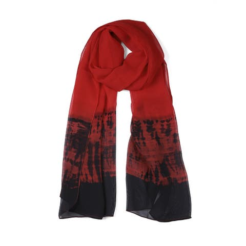 """Long Chiffon Lightweight Gradient Color Scarf For Women Red - 63""""x19.6"""""""