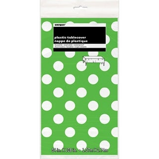 """Plastic Tablecover 54""""X108""""-Lime Green Decorative Dots"""