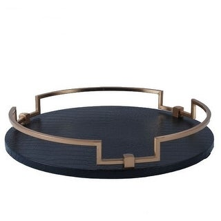 "G Home Collection Luxury Black Leather Round Decorative Tray 14.6""X2.4"""