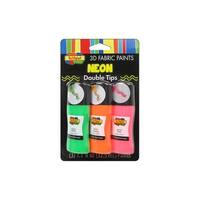 Scribbles Fabric Paint Set Crazy Tip Neon 3pc