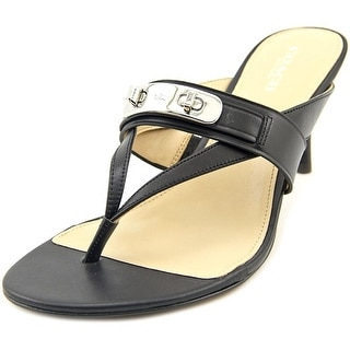 Coach Olina Women Open Toe Leather Black Sandals