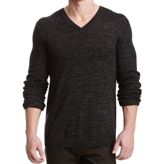 VINCE. NEW Black Mens Size 2XL Pocket Marled V-Neck Wool Knit Sweater