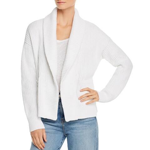 Eileen Fisher Womens Cardigan Sweater Organic Cotton Shawl Collar - Soft White