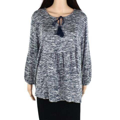 Style & Co Women's Sweater Blue Size 3X Plus Tie Neck Marled Blouse