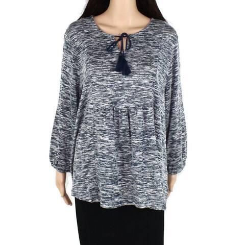 Style & Co Womens Top Blue Size 1X Plus Peplum Tie-Neck Babydoll