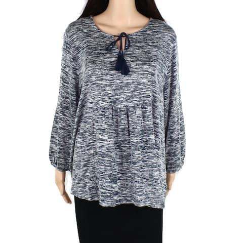 Style & Co. Womens Sweater Blue Size 3X Plus Tassel Tie Neck Babydoll