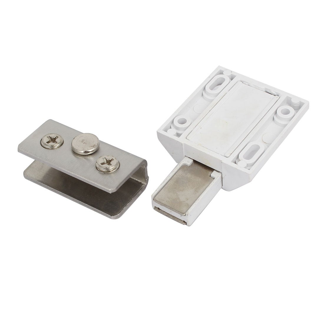 Cabinet Shower Door Pivot Hinge Magnetic Catch Latch Glass Clamps Set
