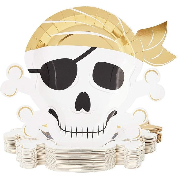 "48 Pirate Paper Plates Skull Crossbones Birthday Party Supplies Baby Shower Gold - 9"" X 9"". Opens flyout."