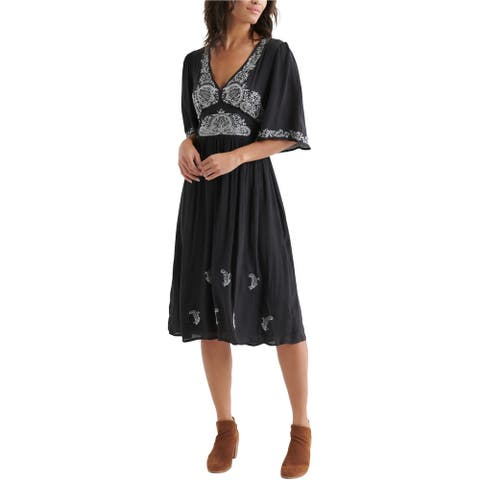 Lucky Brand Womens Embroidered Midi Dress