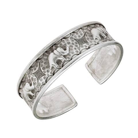Handmade Royal Caravan Safari Elephant Statement Sterling Silver Cuff Bracelet (Thailand)