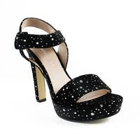 Madden Girl Womens Roll01j1 Black/Silver Ankle Strap Heels Size 8