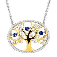 1/3 ct Created Sapphire Tree of Love Floater Necklace with Cubic Zirconia in 14K Gold-Plated Sterling Silver - Blue