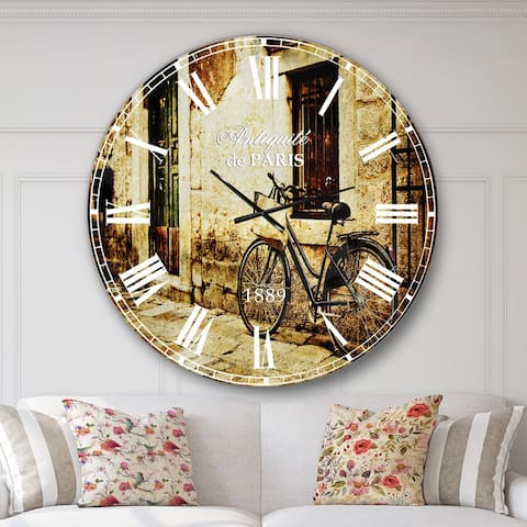 Designart 'Bicycle with Shopping Bag' Landscape Photo Large Wall CLock