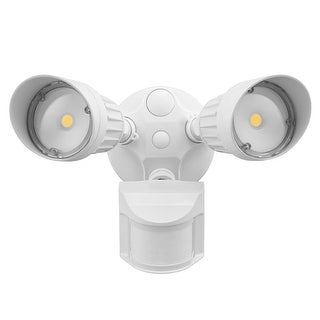 20W Dual-Head LED Outdoor Security Light, 3000K, 1800lm, White