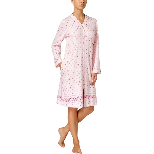 facc4262809c Charter Club Intimates Womens Pink Rose Border Print Zip Front Robe X-Small  XS