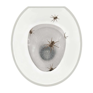 Realistic Toilet Lid Seat Tattoo - Removable Decal - Scary Spiders - Round