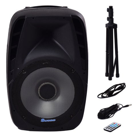 Costway Portable 15'' 1500W 2-way Powered Speaker Bluetooth Music w Illuminating Light
