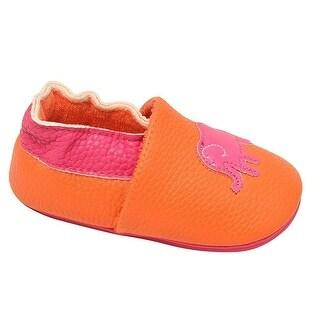 juDanzy Little Girls Orange Hot Pink Ellie Elephant Soft Sole Shoes