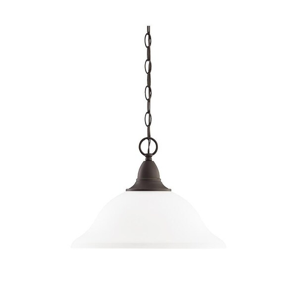 Sea Gull Lighting 65575-782 1-L Pendant EtchedGlass Heirloom Bronze Finish - Bronze Finish