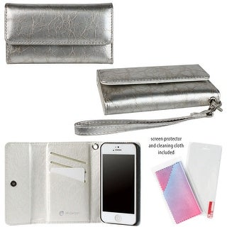JAVOedge Silver Distressed Wallet Case / Card Holder, Screen Protector, Wristlet for the Apple iPhone 5S / iPhone 5